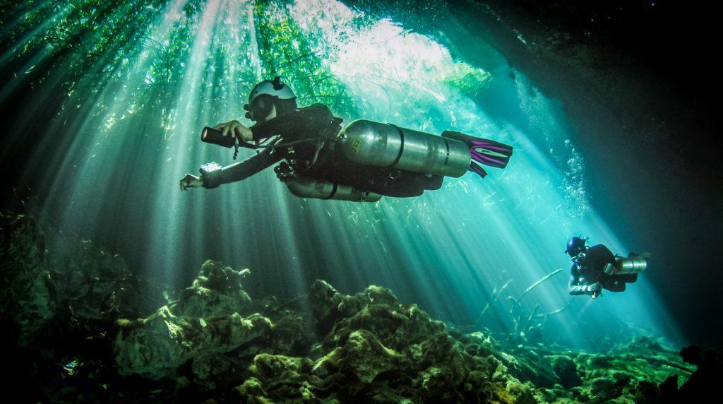 Scuba diving in mayan cenotes Mexico