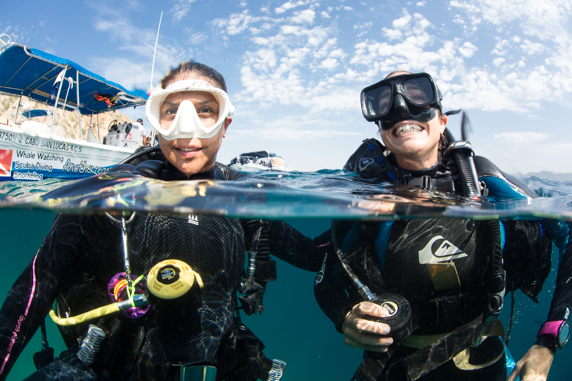 Scuba diving with reef manta rays in the Maldives