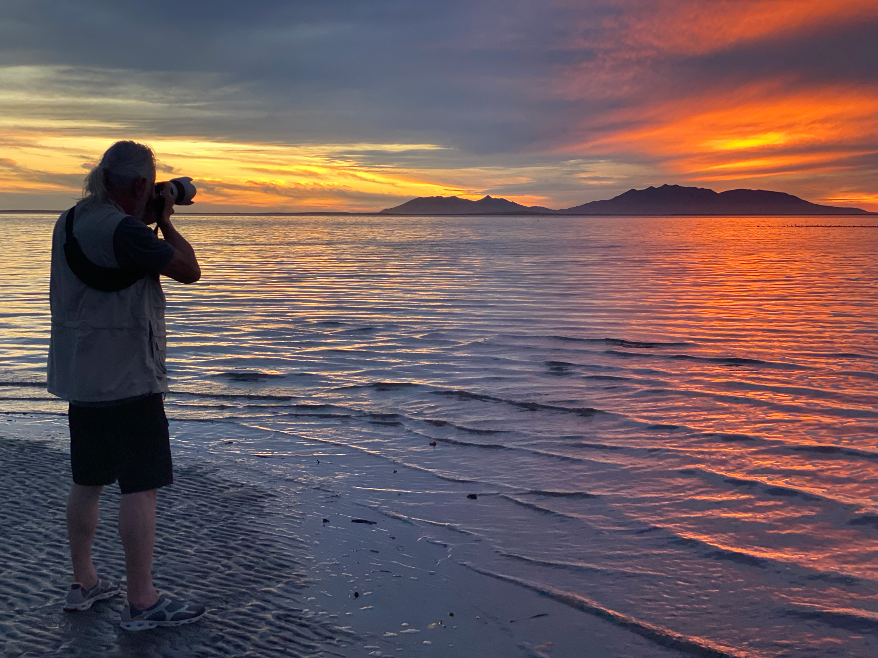 Sunset in Mag bay, Bahia Magdalena. Baja California, Mexico. Mar y Arena Hotel